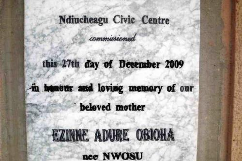 Ndiucheagu Ezinne Civic Center Plaque