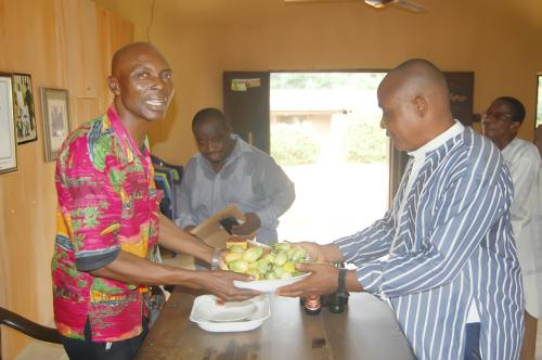 Traditional – Kolanuts prsented by the representative of the Ndiucheagwu community by their chairman to a representative of Adure and Onyima Obioha Foundation.