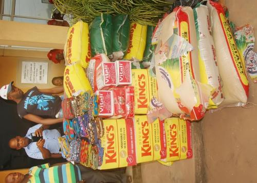 SOME BAGS OF RICE DONATED BY THE FOUNDATION TO THE COMMUNITY